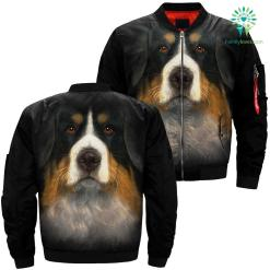Bernese Mountain Dog over print jacket %tag familyloves.com