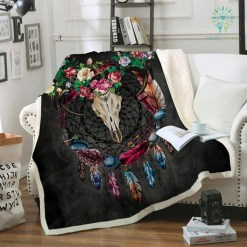 familyloves.com Boho Dreamcatcher Fleece Blanket Tribal Horns Flower Bedspread Gothic Skull Velvet Plush Bed Blanket 150x200 130x150 %tag