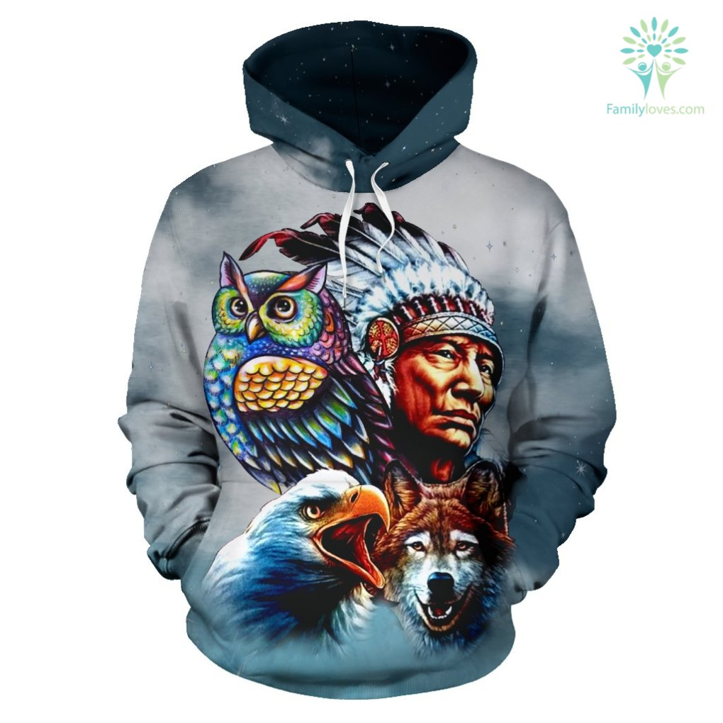 Chief & Spirit Animal Galaxy Background Native American Pride Over Print Hoodie %tag familyloves.com