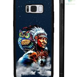 Chief & Spirit Animal Galaxy Background Native American Samsung, iPhone case %tag familyloves.com