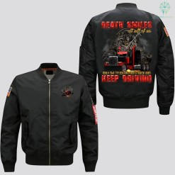 familyloves.com DEATH SMILES AT ALL OF US - ONLY THE TRUCKERS SMILE BACK AND KEEP DRIVING JACKET. %tag