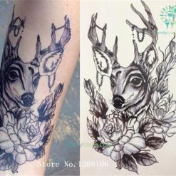 Deer And Flower 21 X 15 CM Sized Sexy Cool Beauty Tattoo Sticker %tag familyloves.com