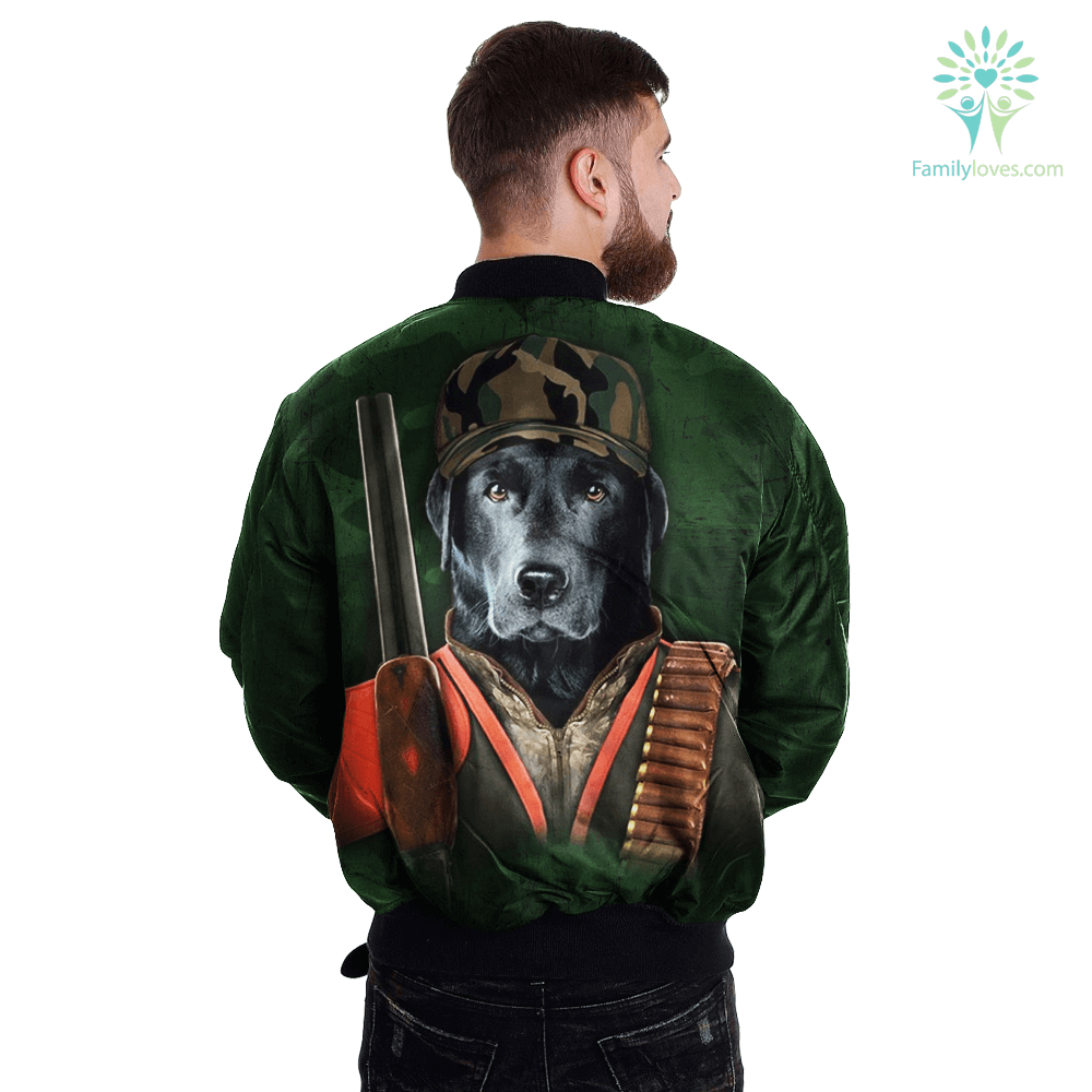 Dog Black Lab over print jacket %tag familyloves.com