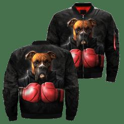familyloves.com Dog Boxer over print jacket %tag