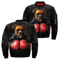 Dog Boxer over print jacket %tag familyloves.com