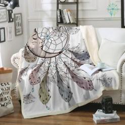 familyloves.com Dreamcatcher Sherpa Fleece Blanket for Beds Velvet Plush Sleeping Moon Throw Blanket Adult Kids Bedding Sofa battaniye %tag