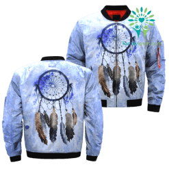 Dreamcatcher Watercolor Painting Over Print Bomber Jacket %tag familyloves.com
