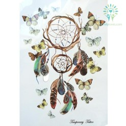Dreamcatcher With Beautiful Butterfly Waterproof Hot Temporary Tattoo Stickers 21 X 15 CM %tag familyloves.com