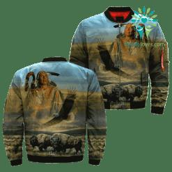 Dusty Plains Native American over print bomber jacket %tag familyloves.com