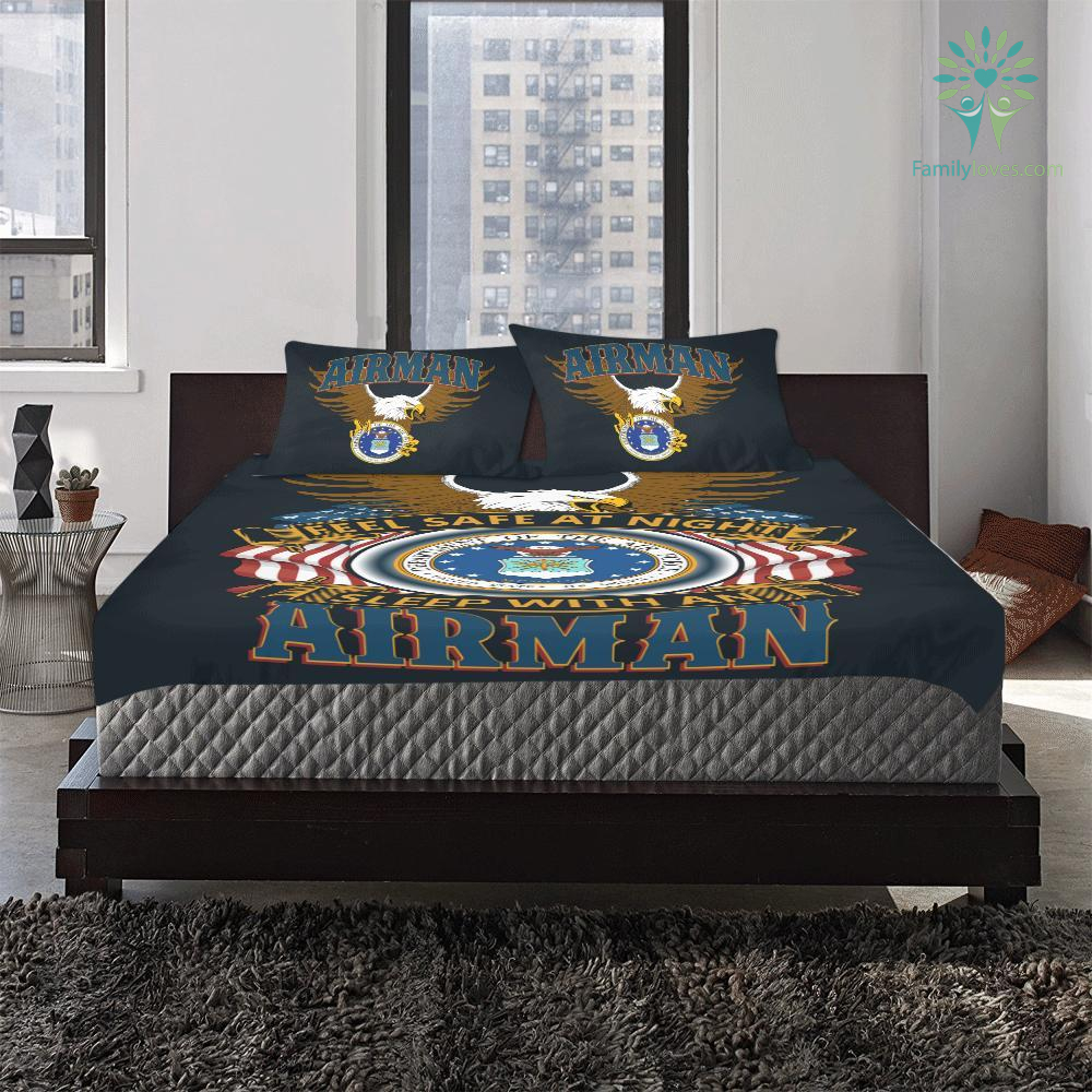 familyloves.com DUVET COVER AND PILLOWCASES FEEL SAFE AT NIGHT SLEEP WITH AN AIRMAN %tag