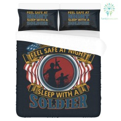 familyloves.com DUVET COVER AND PILLOWCASES FEEL SAFE AT NIGHT SLEEP WITH A SOLDIER %tag