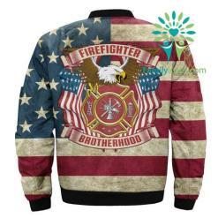 familyloves.com Firefighter brotherhood over print Bomber jacket %tag