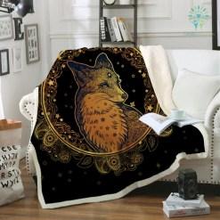 familyloves.com Golden Fox Sherpa Fleece Blanket Animal Stars Bedspread Paisley Leaves Flower Velvet Plush Bed Blanket 150x200 130x150 %tag