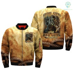familyloves.com GOOD GUYS WITH GUNS STOP BAD GUYS WITH GUNS over print Bomber jacket %tag