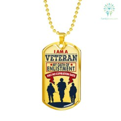 I am a Veteran Luxury Add Engraving Dog Tag - Military Ball Chain Military Chain (Gold) Military Chain (Silver) %tag familyloves.com