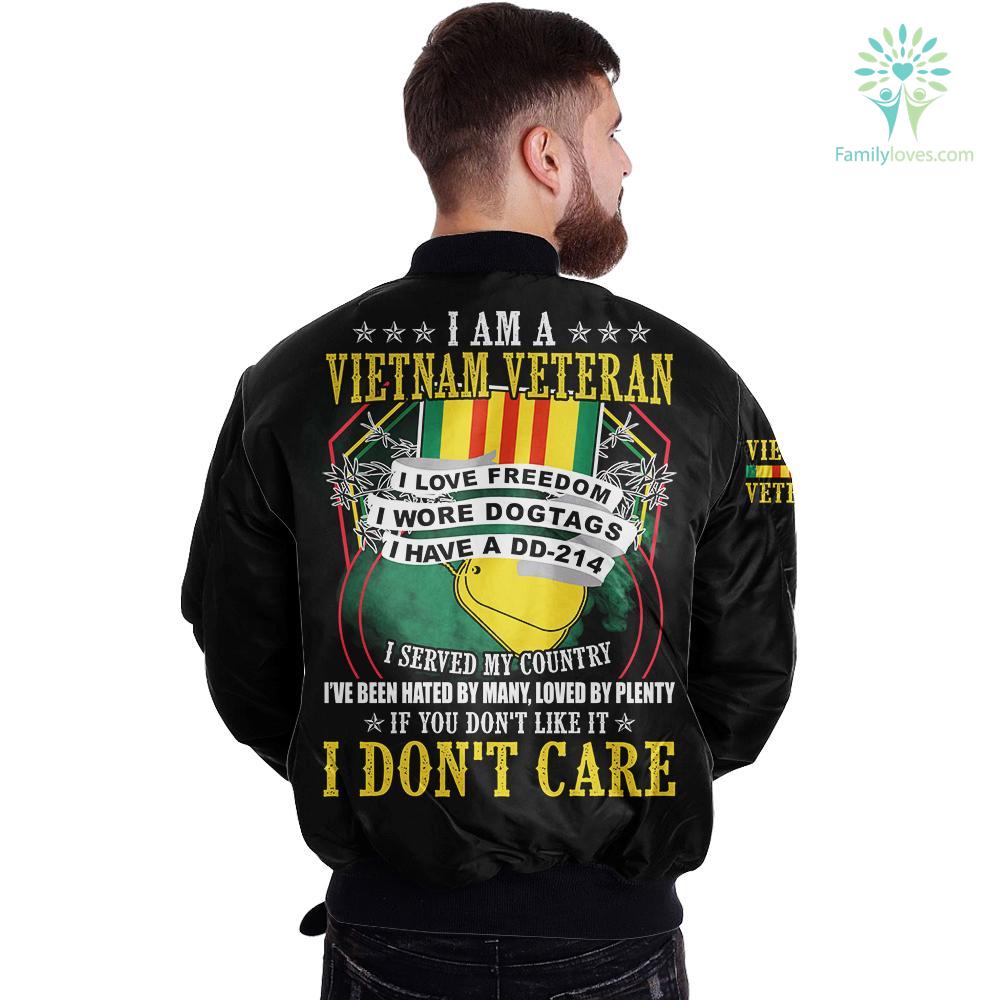 familyloves.com I Am A Vietnam Veteran I Love Freedom I Wore Dogtags I Have A DD-214 over print jacket %tag