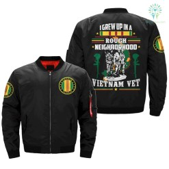 I GREW UP IN A ROUGH NEIGHBORHOOD - Vietnam Veterans of America - OVER PRINT JACKET %tag familyloves.com