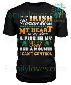 I'M AN IRISH WOMAN I WAS BORN WITH MY...St. Patricks shirt, St. Patrick's Day shirt, St. Patricks day, St Pattys day shirt, Sizes S-5XL %tag familyloves.com