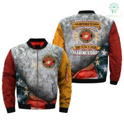 familyloves.com i wanted to serve, i volunteered to serve, i knew what i was doing, U.S Marine Corps over print Bomber jacket %tag