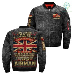 familyloves.com I was a warrior I am no hero but I have served with a few I will never accept defeat - Airman British over print Bomber jacket %tag