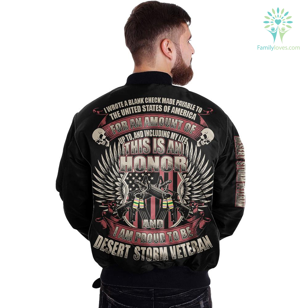 I wrote a blank check made payable to the united states of america - i am proud to be desert storm veteran over print jacket payment shipping %tag familyloves.com