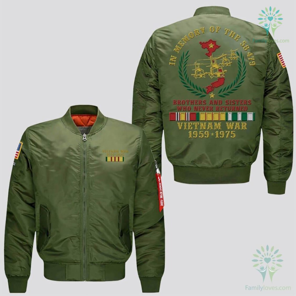 familyloves.com IN MEMORY OF THE 58479 BROTHERS AND SISTERS WHO NEVER RETURNED, VIETNAM WAR 1959-1975 JACKET EMBROIDERED VERSION %tag