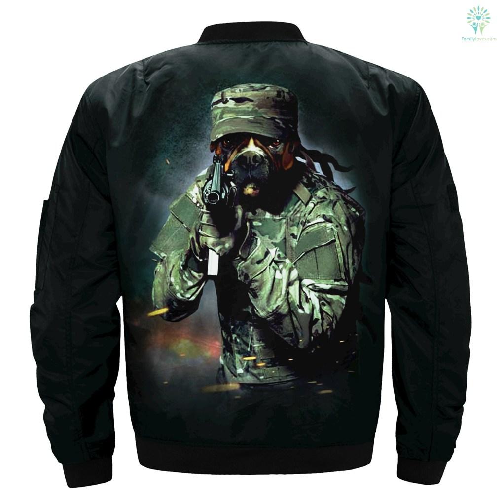 Military Boxer Dog over print jacket %tag familyloves.com