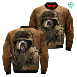 Military Bulldog over print jacket %tag familyloves.com