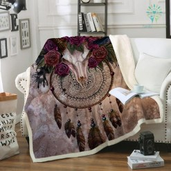 familyloves.com Mystery Skull Dreamcatcher Fleece Blanket Plush Bedclothes Floral Throw Blanket Gothic cobertor %tag