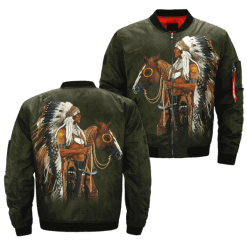 familyloves.com Native American art horseman over print bomber jacket %tag