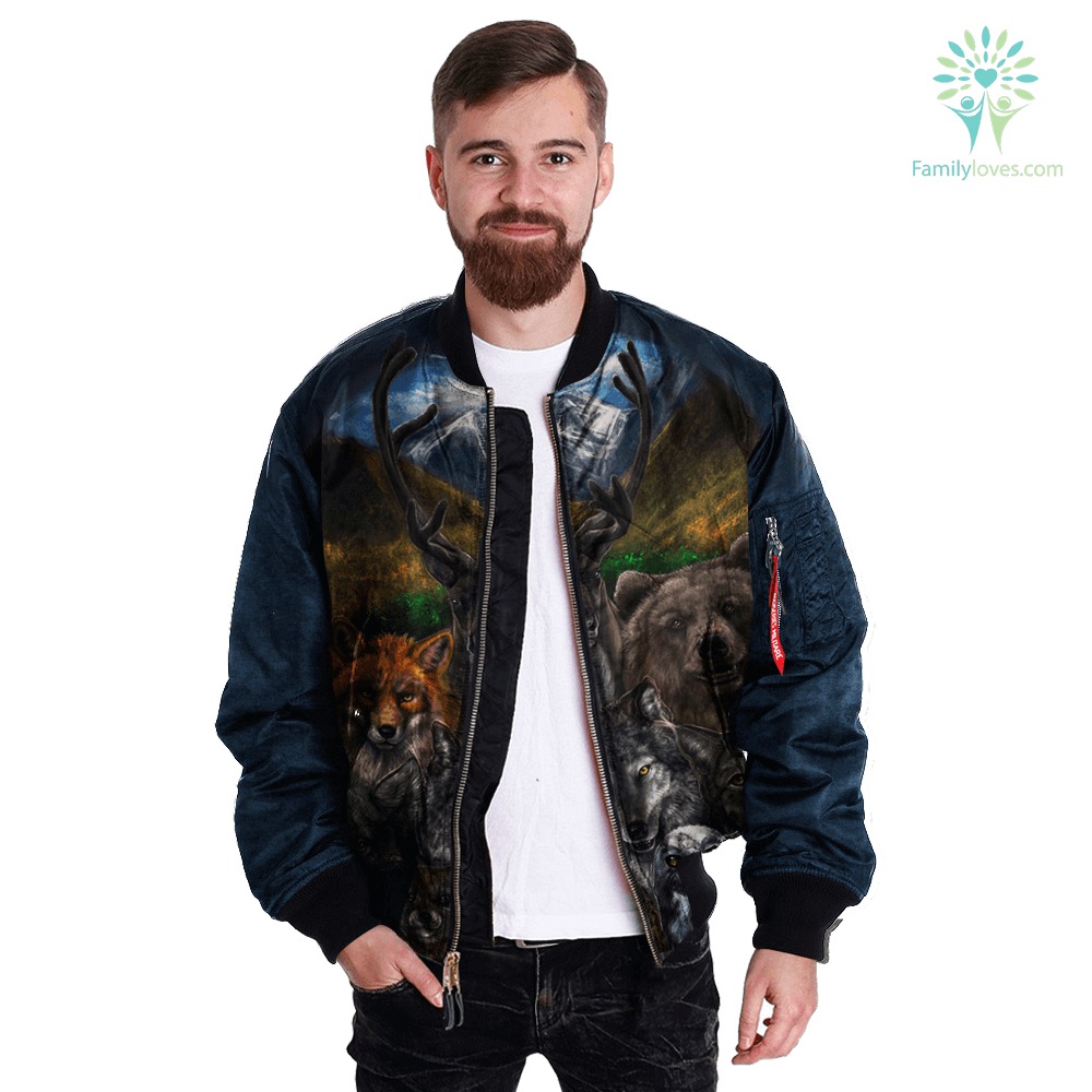 familyloves.com Native American Clothing - Bear Wolf Owl Fox 3D OVER PRINT BOMBER JACKET %tag