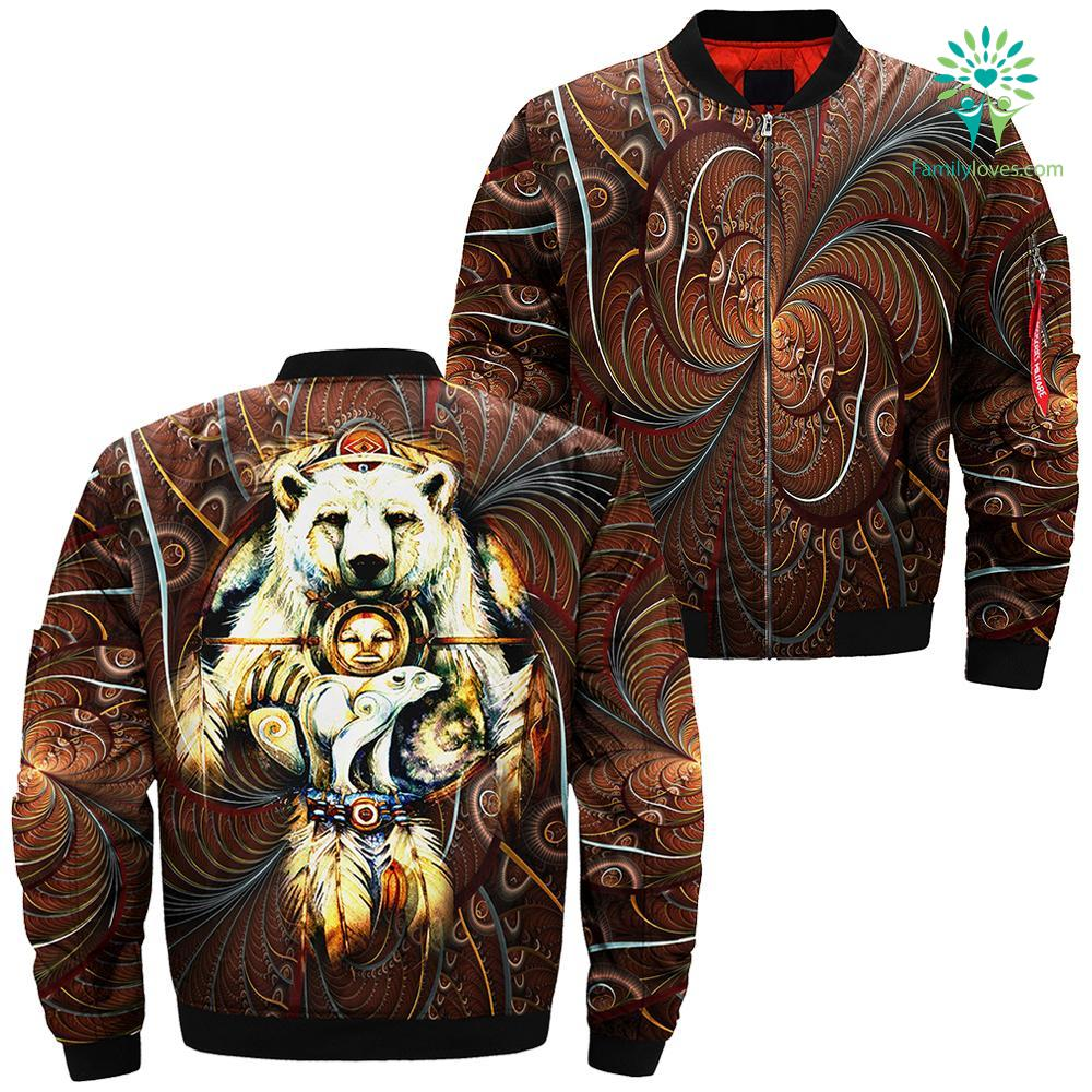 familyloves.com Native American dreamcatcher from The Mountain with a spirit bear over print bomber jacket %tag