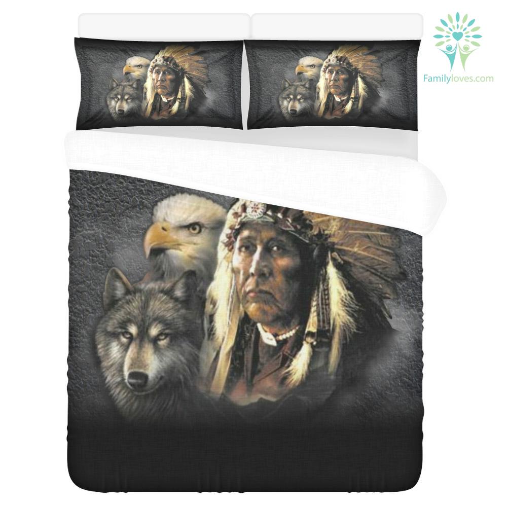 NATIVE AMERICAN INDIAN EAGLE WOLF SPIRIT ANIMALS 3-Piece Bedding Set