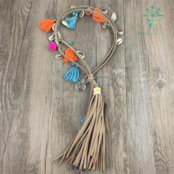 Native American Leather Fringe Necklace %tag familyloves.com
