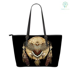 familyloves.com Native American Owl Dreamcatcher Small Leather Bags %tag