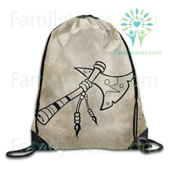 Native American Tomahawk Axe Drawstring Backpack Bag Gym Sack %tag familyloves.com