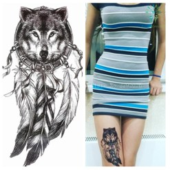Native American Wolf with Feather Cool Beauty Tattoo Waterproof Stickers %tag familyloves.com