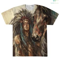 familyloves.com NATIVE GIRL WITH HORSE OVER PRINT T-SHIRT %tag