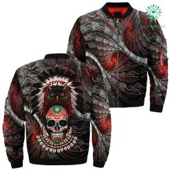 familyloves.com Native owl sugar skull over print bomber jacket %tag