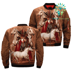 Native Stories of Horse Origins over print bomber jacket %tag familyloves.com