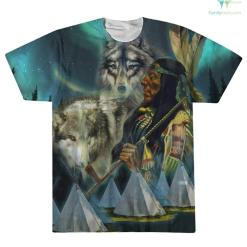 familyloves.com NATIVE WOLF AMERICAN OVER PRINT T-SHIRT %tag
