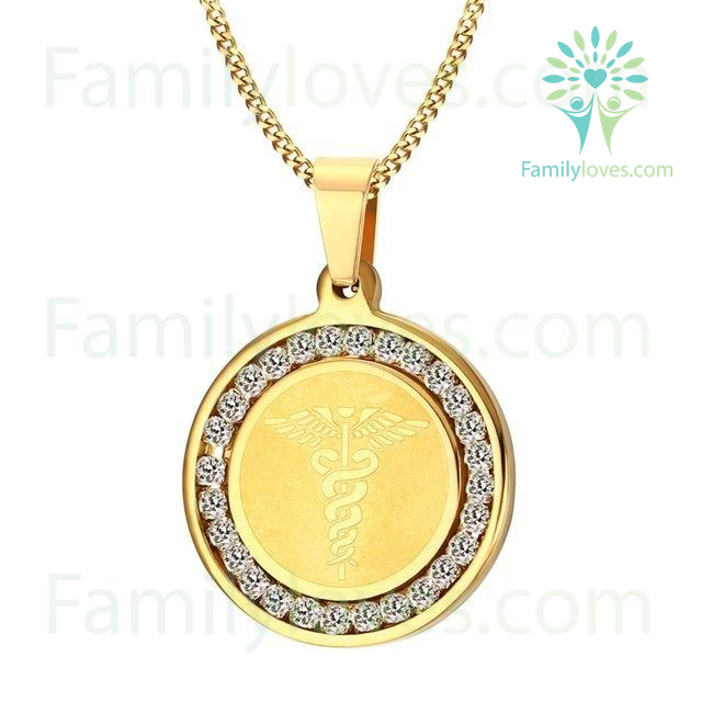 Necklace for Nurse - Surgical Steel CZ Stone Jewelry %tag familyloves.com