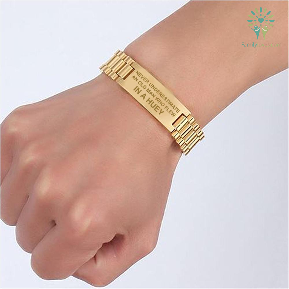 familyloves.com NEVER UNDERESTIMATE AN OLD MAN WHO FLEW IN A HUEY - MEN'S BRACELETS Default Title %tag