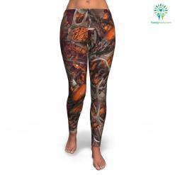 Orange Hunting all-over print leggings %tag familyloves.com
