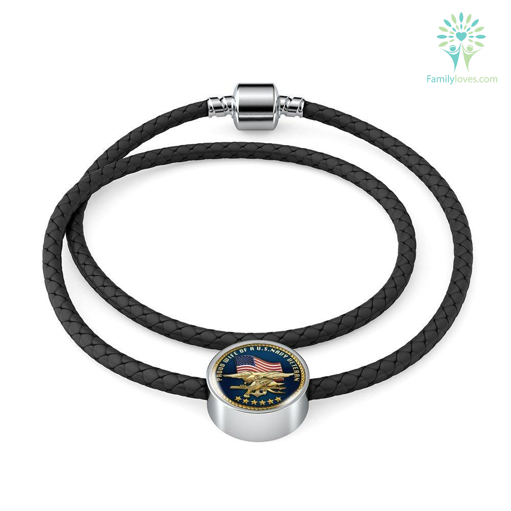 Proud wife of a us navy veteran Woven Double-Braided Real-Leather Charm Bracelet Charm Only M/L Woven Leather Charm Bracelet S/M Woven Leather Charm Bracelet %tag familyloves.com