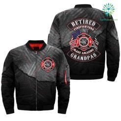 familyloves.com RETIRED FIREFIGHTERS MAKE AMAZING GRANDPAS over print Bomber jacket %tag