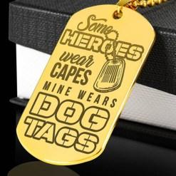 familyloves.com Same heroes wear capes mine wears Engraved Dog Tag 18k Gold-Plated Engraved Dog Tag 18k Gold-Plated %tag