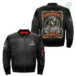 some grandpa play bingo real grandpas ride motocycle over print Bomber jacket %tag familyloves.com