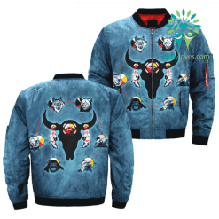 The Seven Sacred Teachings Over Print Bomber Jacket %tag familyloves.com