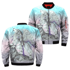 familyloves.com The wolf with wings over print bomber jacket %tag